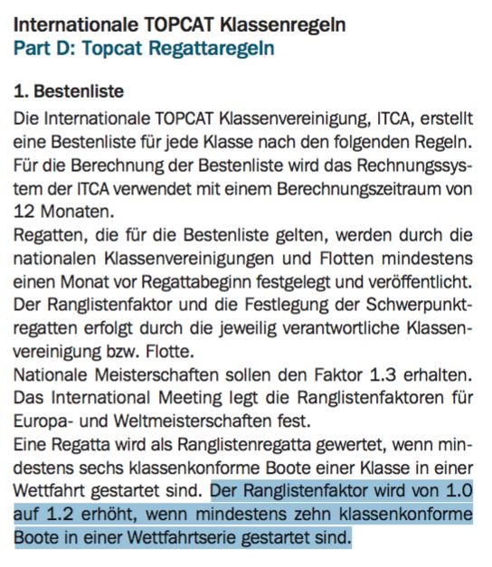 Auszug ITCA Regattaregeln